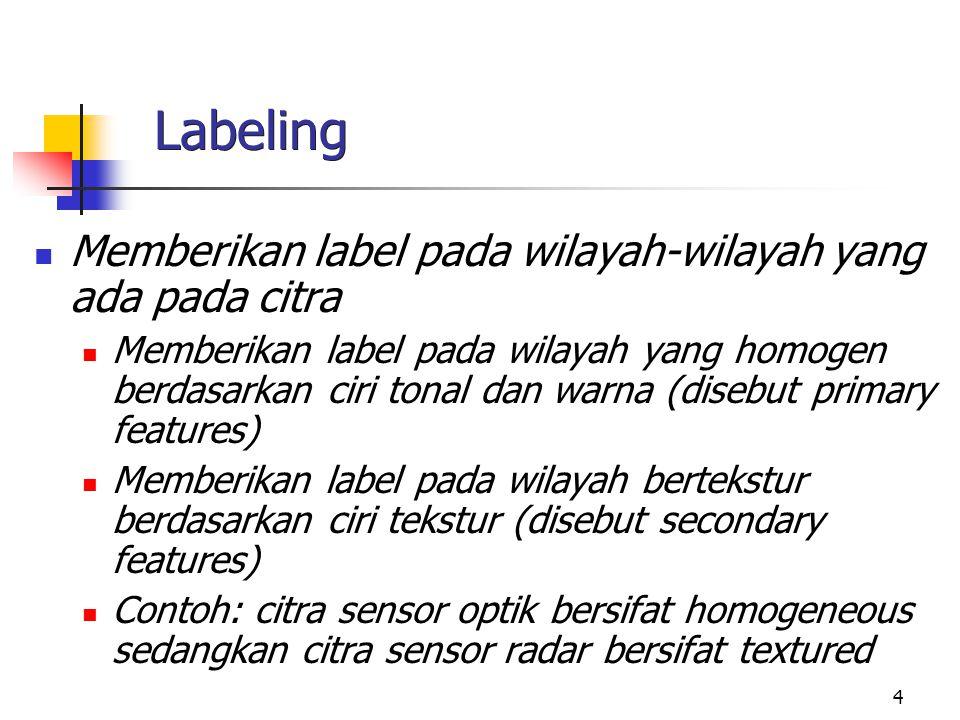 4 Labeling Memberikan label pada wilayah-wilayah yang ada pada citra Memberikan label pada wilayah yang homogen berdasarkan ciri tonal dan warna (dise