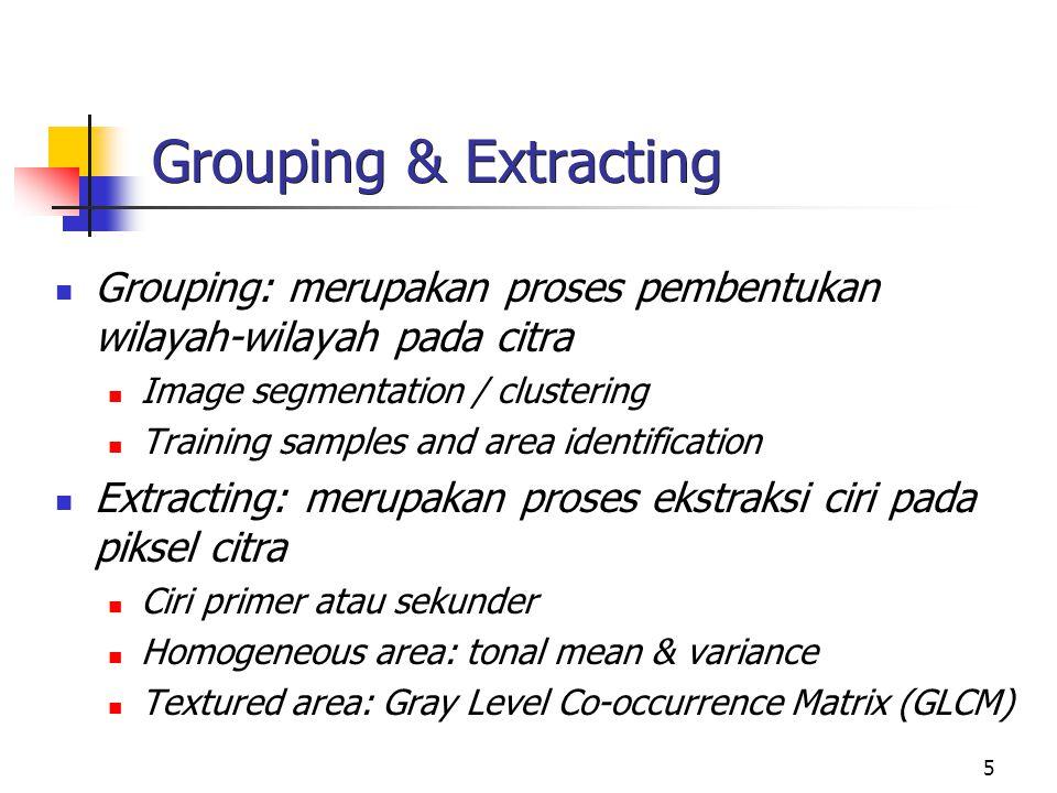 5 Grouping & Extracting Grouping: merupakan proses pembentukan wilayah-wilayah pada citra Image segmentation / clustering Training samples and area id