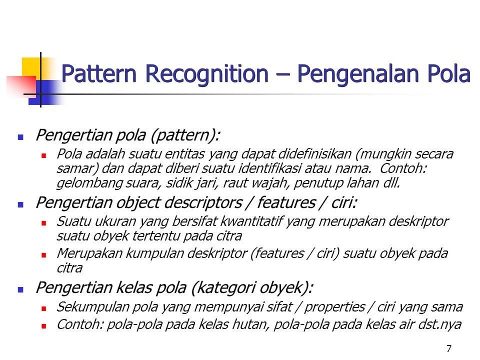 7 Pattern Recognition – Pengenalan Pola Pengertian pola (pattern): Pola adalah suatu entitas yang dapat didefinisikan (mungkin secara samar) dan dapat