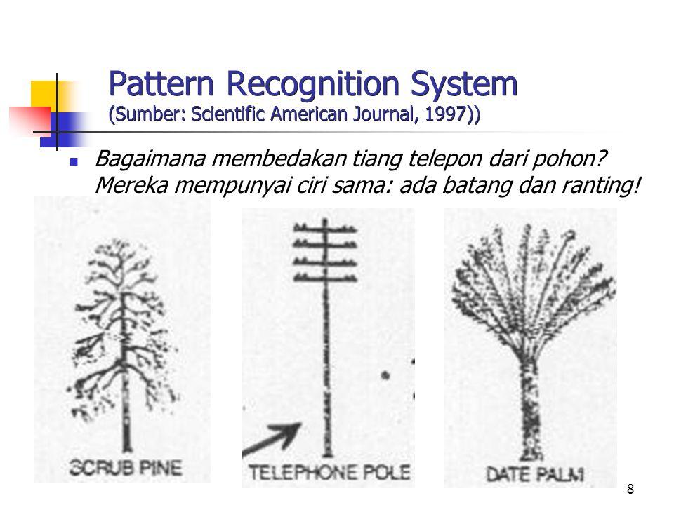 8 Pattern Recognition System (Sumber: Scientific American Journal, 1997)) Bagaimana membedakan tiang telepon dari pohon? Mereka mempunyai ciri sama: a