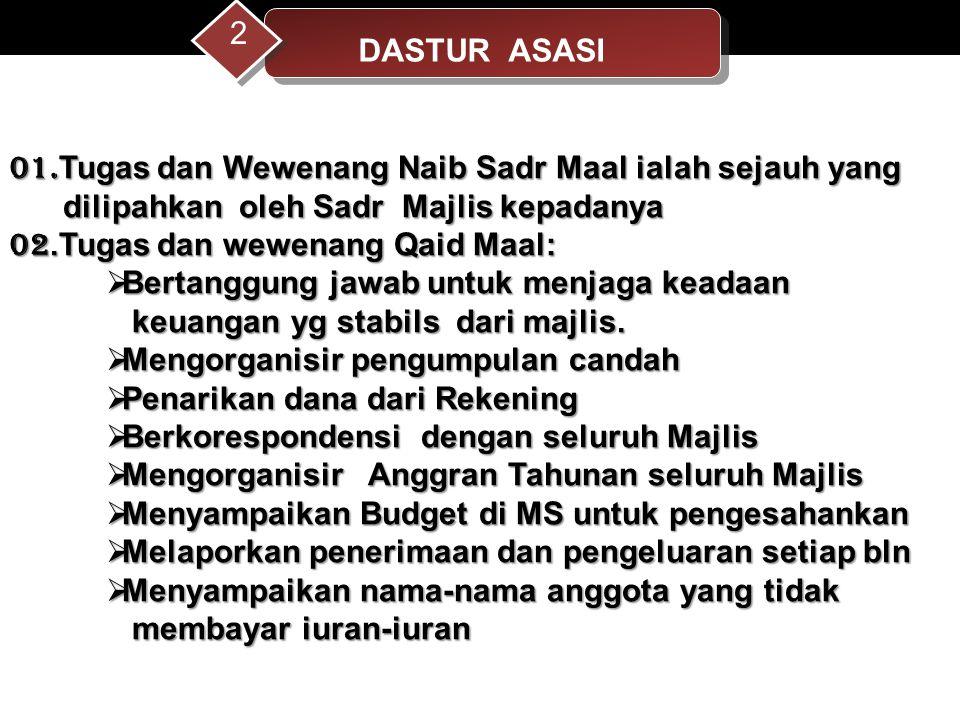 01. Tugas dan Wewenang Naib Sadr Maal ialah sejauh yang dilipahkan oleh Sadr Majlis kepadanya dilipahkan oleh Sadr Majlis kepadanya 02.Tugas dan wewen