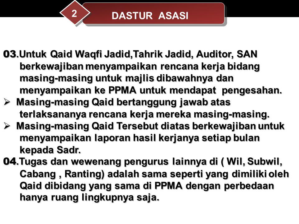 03.Untuk Qaid Waqfi Jadid,Tahrik Jadid, Auditor, SAN berkewajiban menyampaikan rencana kerja bidang berkewajiban menyampaikan rencana kerja bidang mas