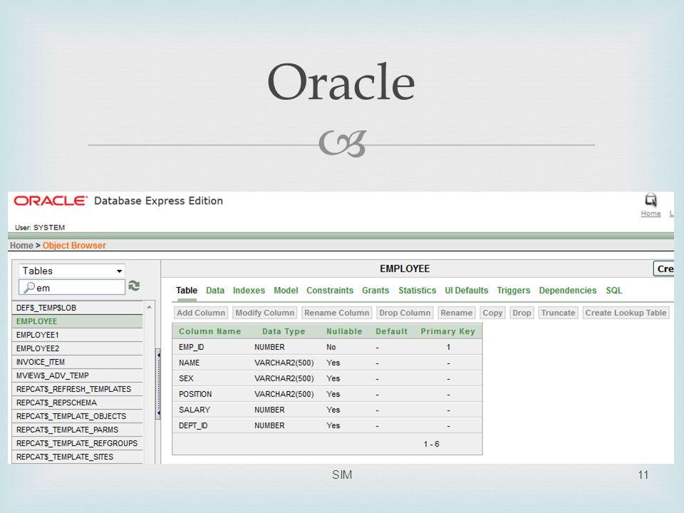  Oracle SIM11