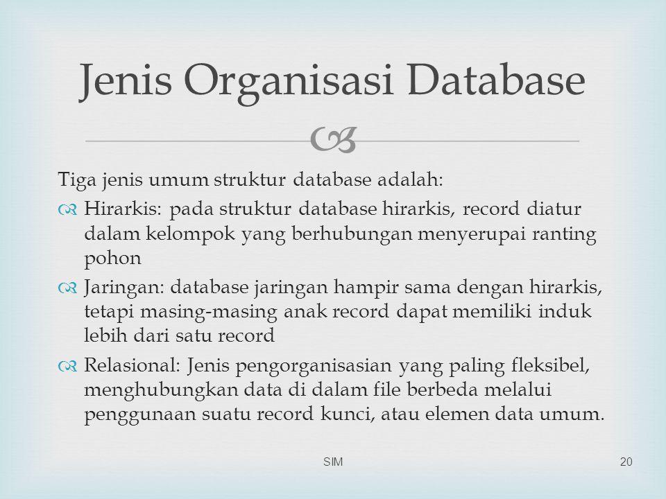  Tiga jenis umum struktur database adalah:  Hirarkis: pada struktur database hirarkis, record diatur dalam kelompok yang berhubungan menyerupai ranting pohon  Jaringan: database jaringan hampir sama dengan hirarkis, tetapi masing-masing anak record dapat memiliki induk lebih dari satu record  Relasional: Jenis pengorganisasian yang paling fleksibel, menghubungkan data di dalam file berbeda melalui penggunaan suatu record kunci, atau elemen data umum.