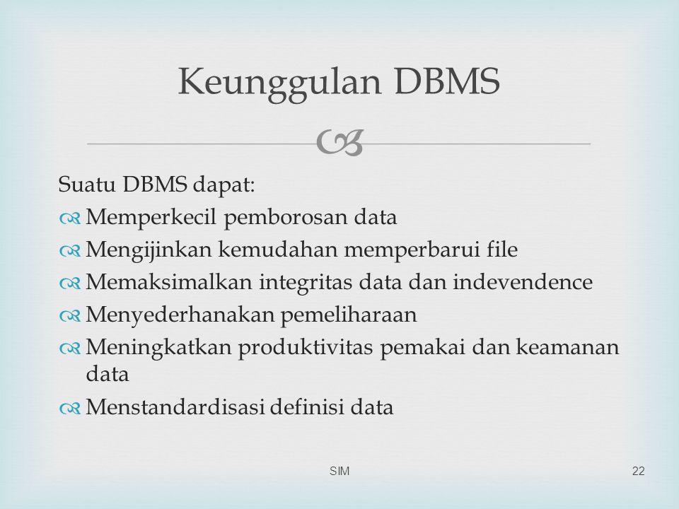  Suatu DBMS dapat:  Memperkecil pemborosan data  Mengijinkan kemudahan memperbarui file  Memaksimalkan integritas data dan indevendence  Menyeder
