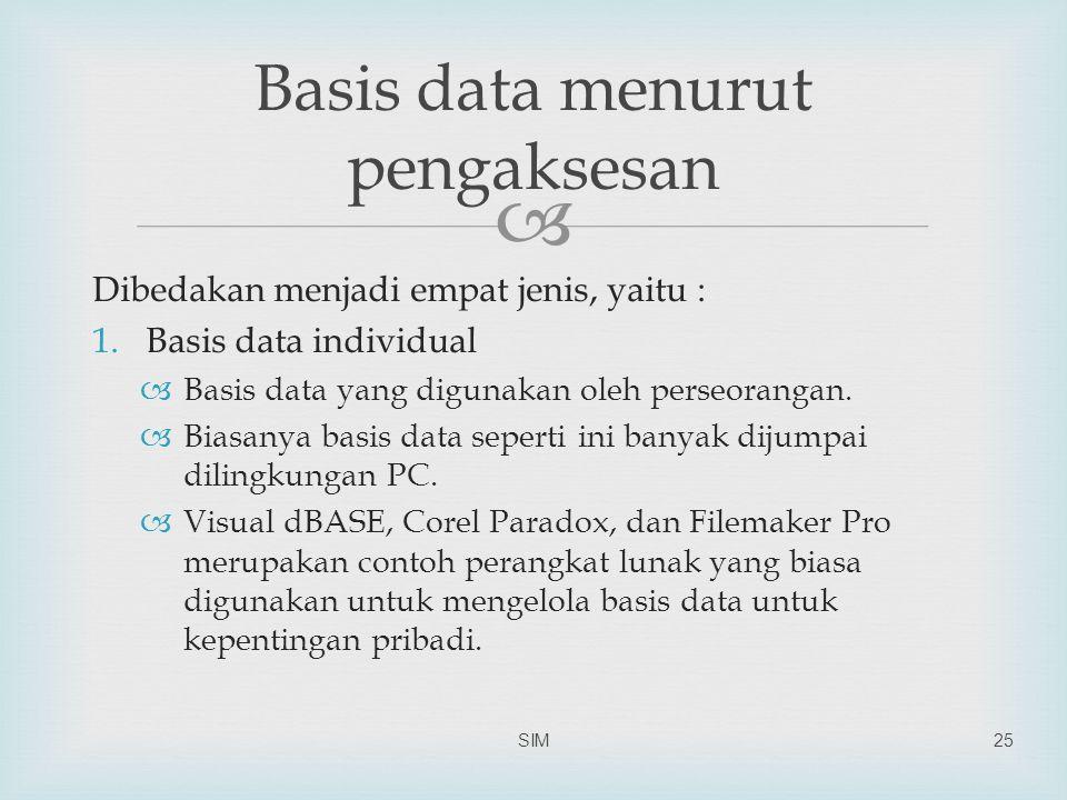  Dibedakan menjadi empat jenis, yaitu : 1.Basis data individual  Basis data yang digunakan oleh perseorangan.  Biasanya basis data seperti ini bany