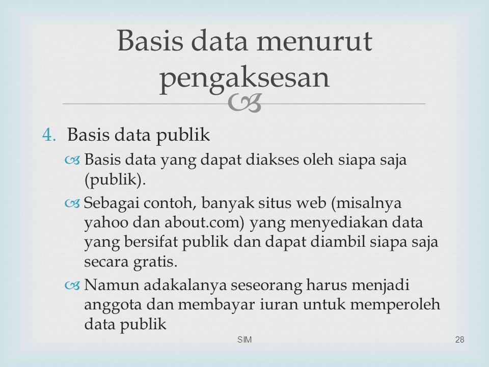  4.Basis data publik  Basis data yang dapat diakses oleh siapa saja (publik).  Sebagai contoh, banyak situs web (misalnya yahoo dan about.com) yang