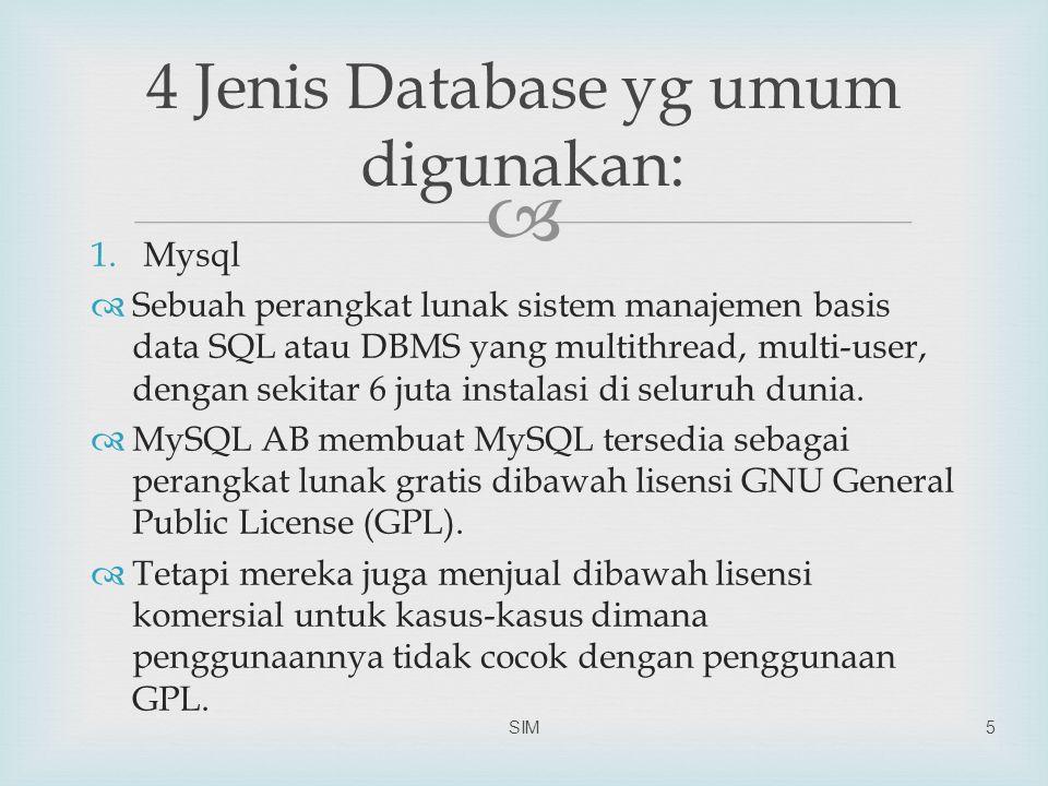  1.Mysql  Sebuah perangkat lunak sistem manajemen basis data SQL atau DBMS yang multithread, multi-user, dengan sekitar 6 juta instalasi di seluruh dunia.