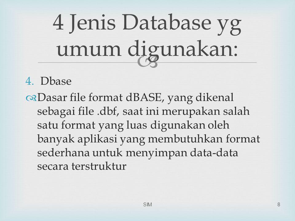  4.Dbase  Dasar file format dBASE, yang dikenal sebagai file.dbf, saat ini merupakan salah satu format yang luas digunakan oleh banyak aplikasi yang