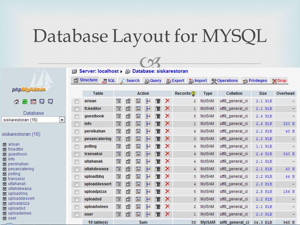  Database Layout for MYSQL SIM9
