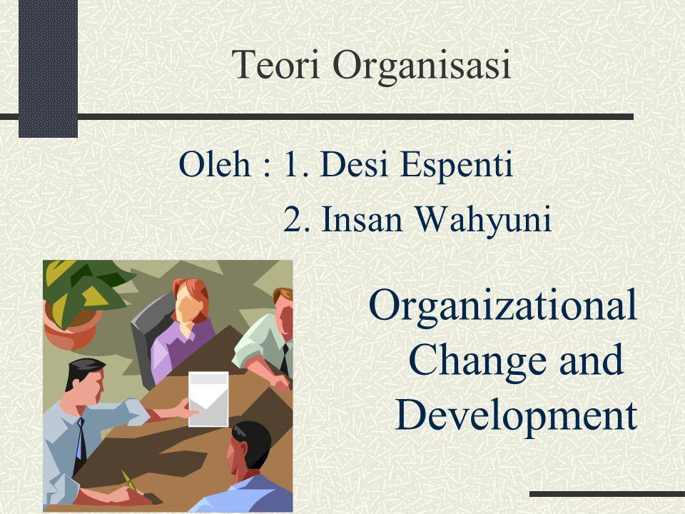 Teori Organisasi Organizational Change and Development Oleh : 1. Desi Espenti 2. Insan Wahyuni