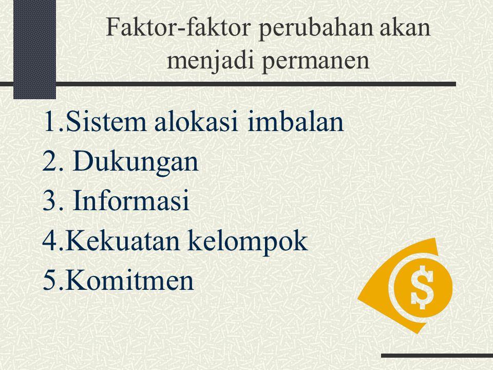Faktor-faktor perubahan akan menjadi permanen 1.Sistem alokasi imbalan 2. Dukungan 3. Informasi 4.Kekuatan kelompok 5.Komitmen