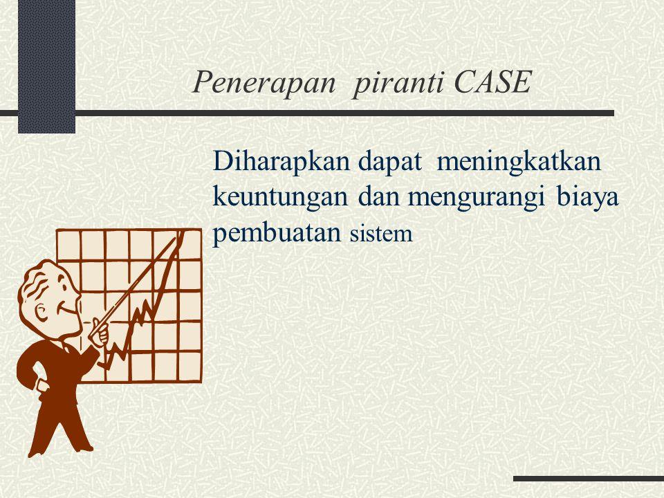 Penerapan piranti CASE Diharapkan dapat meningkatkan keuntungan dan mengurangi biaya pembuatan sistem