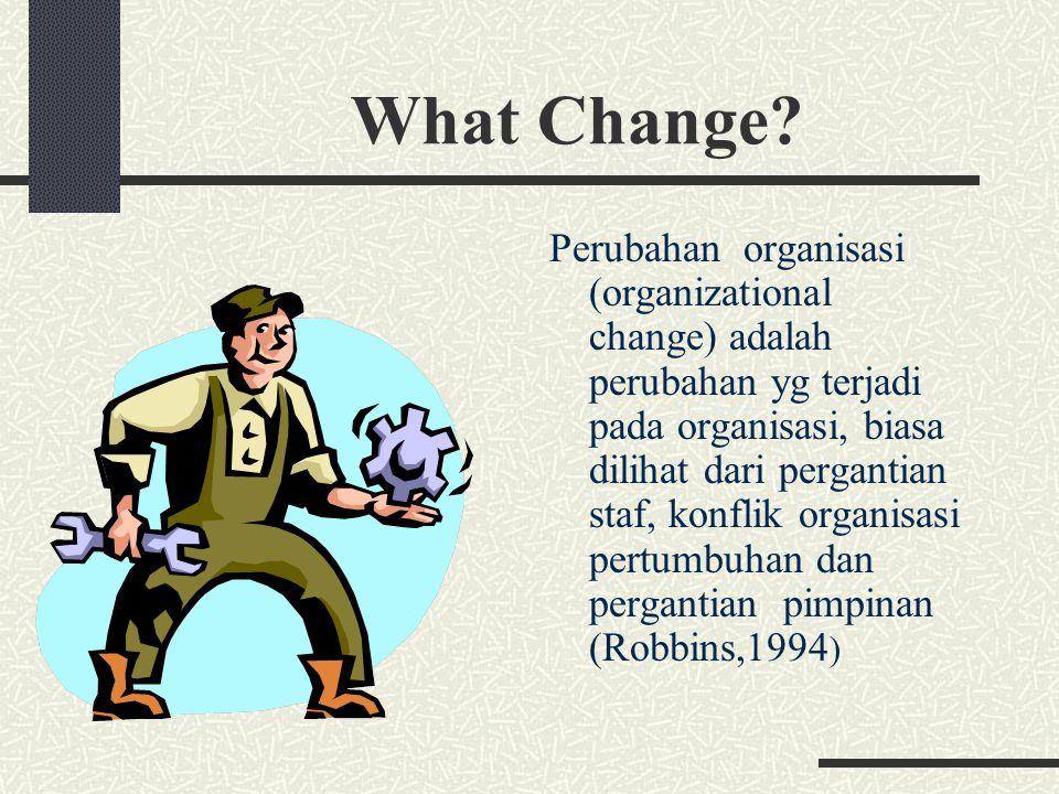 Pengembangan organisasi (organizational change) Adalah sebuah proses perubahan yang direncanakan didalam kultur suatu organisasi melalui teknologi, riset dan teori (Burke,1982)