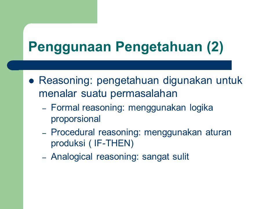 Penggunaan Pengetahuan (2) Reasoning: pengetahuan digunakan untuk menalar suatu permasalahan – Formal reasoning: menggunakan logika proporsional – Pro