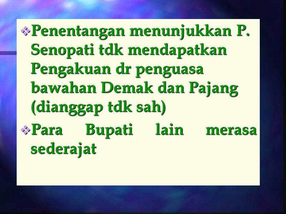 Tantangan Para Bupati Lain dan Ambisi P. Senopati  Para Bupati tak memberi pengakuan  Wilayah yg dpt dikuasai : Jipang, Pati, Kudus, Jepara, Kedu, B