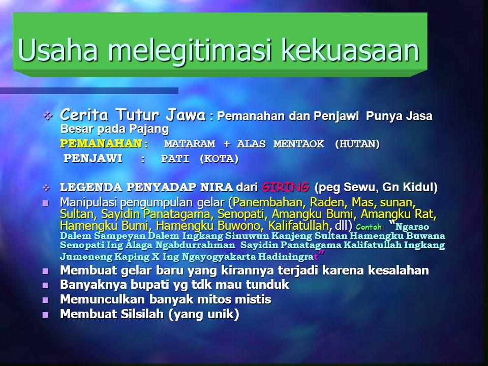 Usaha melegitimasi kekuasaan  Cerita Tutur Jawa : Pemanahan dan Penjawi Punya Jasa Besar pada Pajang PEMANAHAN : MATARAM + ALAS MENTAOK (HUTAN) PENJAWI : PATI (KOTA) PENJAWI : PATI (KOTA)  LEGENDA PENYADAP NIRA dari GIRING (peg Sewu, Gn Kidul) Manipulasi pengumpulan gelar (Panembahan, Raden, Mas, sunan, Sultan, Sayidin Panatagama, Senopati, Amangku Bumi, Amangku Rat, Hamengku Bumi, Hamengku Buwono, Kalifatullah, dll) Contoh: Ngarso Dalem Sampeyan Dalem Ingkang Sinuwun Kanjeng Sultan Hamengku Buwana Senopati Ing Alaga Ngabdurrahman Sayidin Panatagama Kalifatullah Ingkang Jumeneng Kaping X Ing Ngayogyakarta Hadiningrat Manipulasi pengumpulan gelar (Panembahan, Raden, Mas, sunan, Sultan, Sayidin Panatagama, Senopati, Amangku Bumi, Amangku Rat, Hamengku Bumi, Hamengku Buwono, Kalifatullah, dll) Contoh: Ngarso Dalem Sampeyan Dalem Ingkang Sinuwun Kanjeng Sultan Hamengku Buwana Senopati Ing Alaga Ngabdurrahman Sayidin Panatagama Kalifatullah Ingkang Jumeneng Kaping X Ing Ngayogyakarta Hadiningrat Membuat gelar baru yang kirannya terjadi karena kesalahan Membuat gelar baru yang kirannya terjadi karena kesalahan Banyaknya bupati yg tdk mau tunduk Banyaknya bupati yg tdk mau tunduk Memunculkan banyak mitos mistis Memunculkan banyak mitos mistis Membuat Silsilah (yang unik) Membuat Silsilah (yang unik)