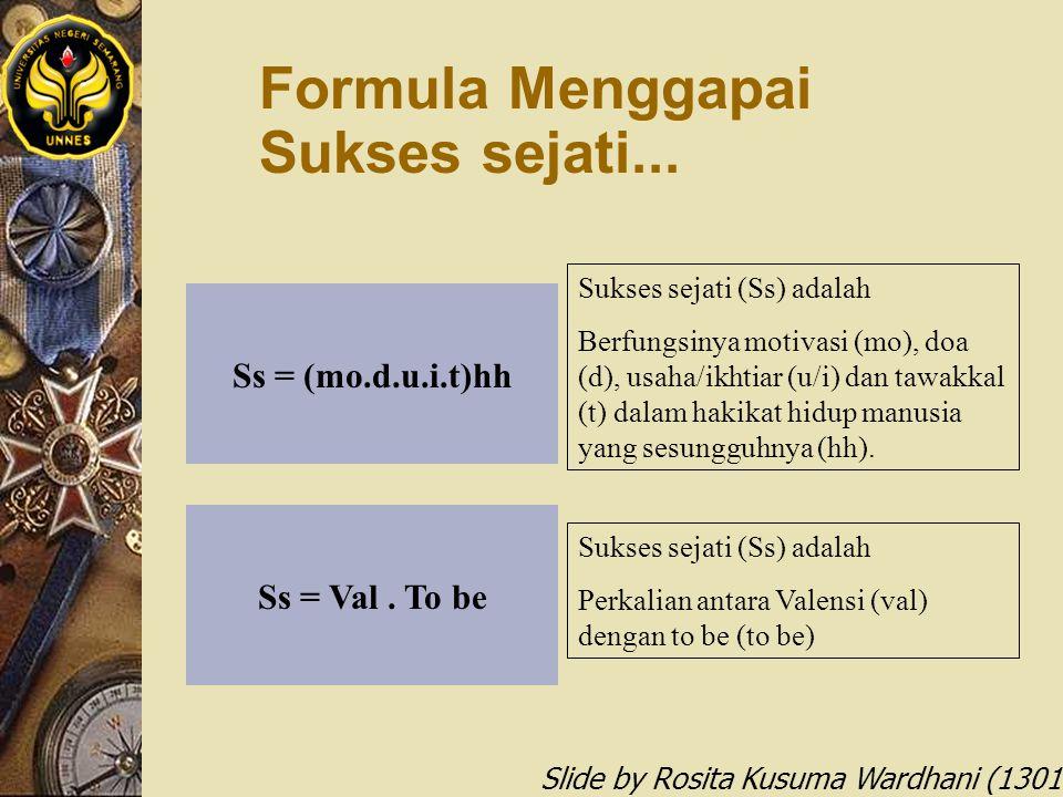Slide by Rosita Kusuma Wardhani (1301412068) Ss = (mo.d.u.i.t)hh Formula Menggapai Sukses sejati... Sukses sejati (Ss) adalah Berfungsinya motivasi (m
