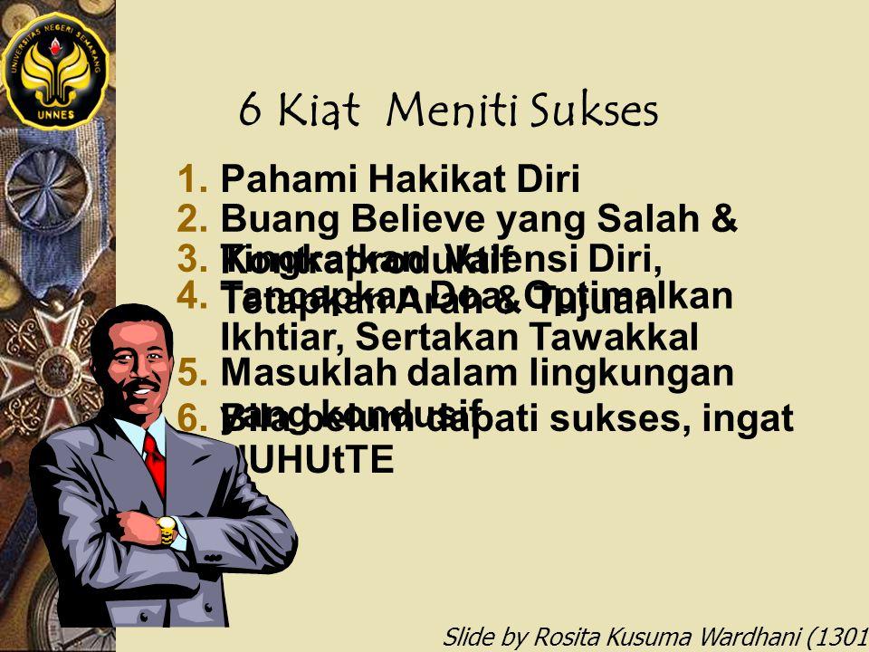 Slide by Rosita Kusuma Wardhani (1301412068) 6 Kiat Meniti Sukses 1.Pahami Hakikat Diri 2.Buang Believe yang Salah & Kontraproduktif 3.Tingkatkan Vale
