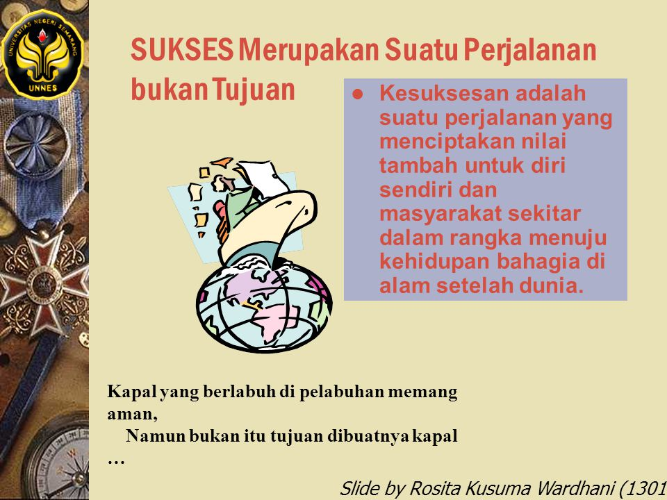 Slide by Rosita Kusuma Wardhani (1301412068) SUKSES Merupakan Suatu Perjalanan bukan Tujuan l Kesuksesan adalah suatu perjalanan yang menciptakan nila