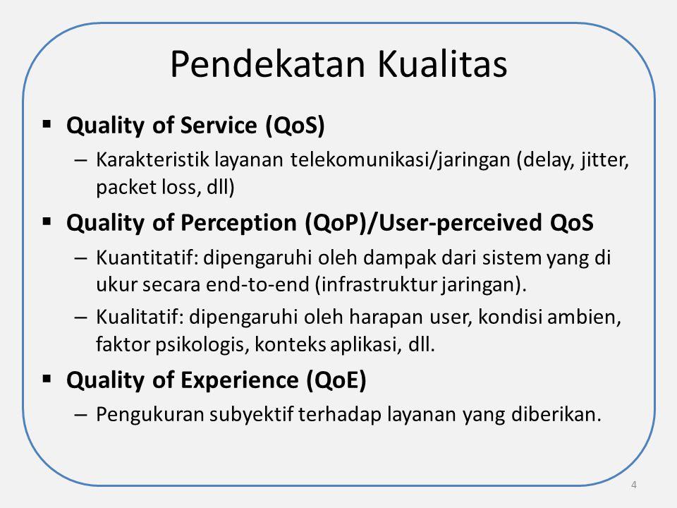 Pendekatan Kualitas  Quality of Service (QoS) – Karakteristik layanan telekomunikasi/jaringan (delay, jitter, packet loss, dll)  Quality of Percepti
