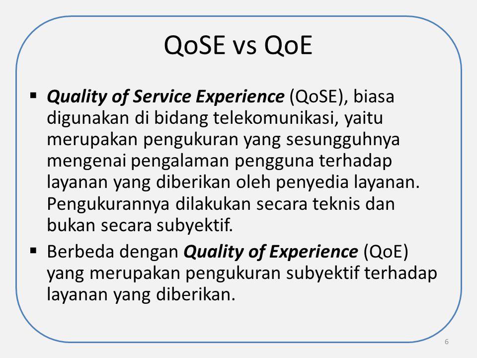 QoSE vs QoE  Quality of Service Experience (QoSE), biasa digunakan di bidang telekomunikasi, yaitu merupakan pengukuran yang sesungguhnya mengenai pe