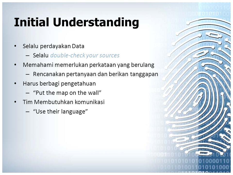 Initial Understanding Selalu perdayakan Data – Selalu double-check your sources Memahami memerlukan perkataan yang berulang – Rencanakan pertanyaan da