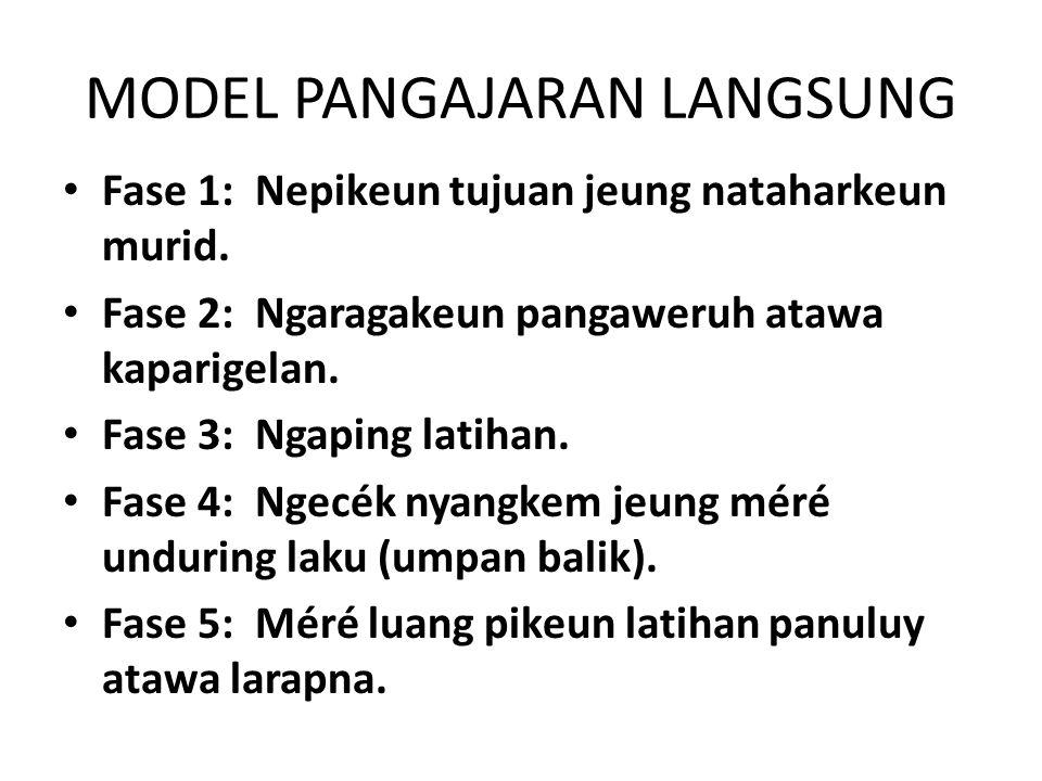 MODEL PANGAJARAN LANGSUNG Fase 1: Nepikeun tujuan jeung nataharkeun murid.