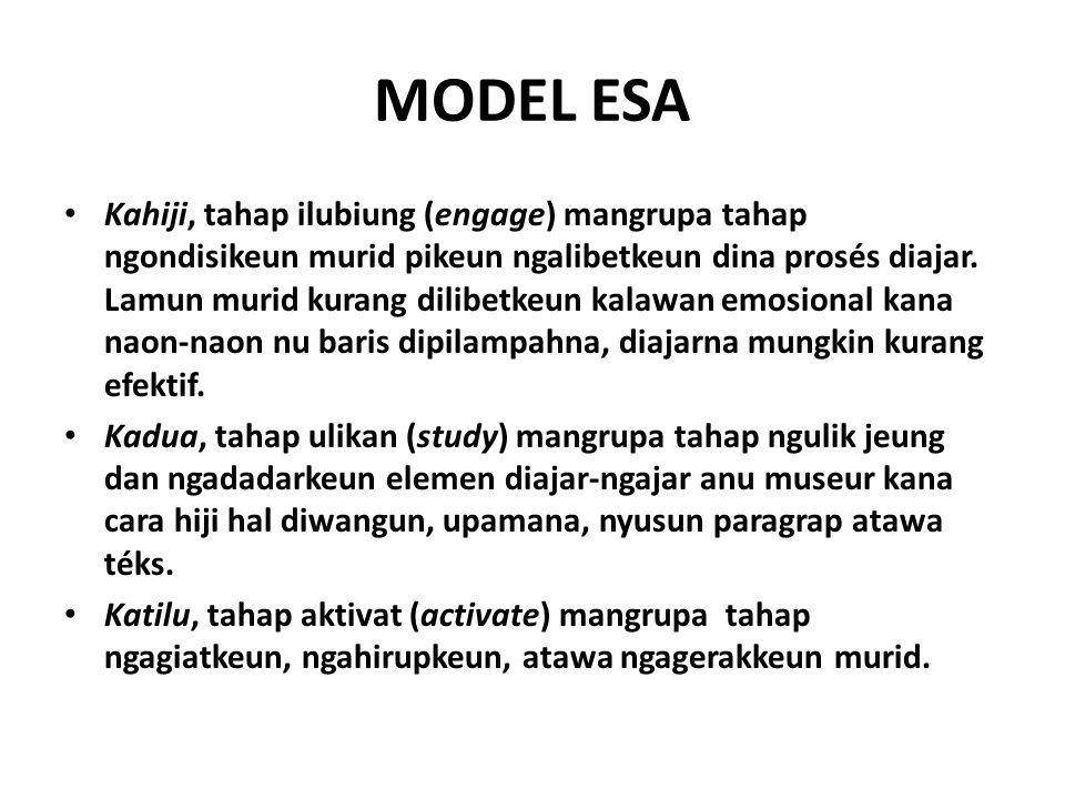 MODEL ESA Kahiji, tahap ilubiung (engage) mangrupa tahap ngondisikeun murid pikeun ngalibetkeun dina prosés diajar.