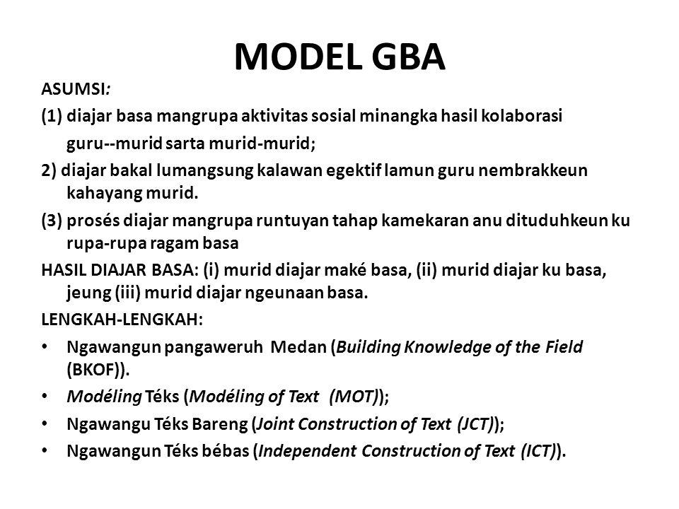 MODEL GBA ASUMSI: (1) diajar basa mangrupa aktivitas sosial minangka hasil kolaborasi guru--murid sarta murid-murid; 2) diajar bakal lumangsung kalawan egektif lamun guru nembrakkeun kahayang murid.