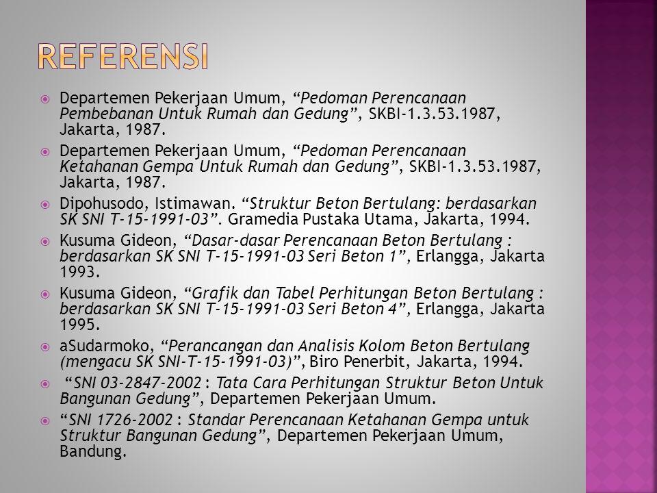  Departemen Pekerjaan Umum, Pedoman Perencanaan Pembebanan Untuk Rumah dan Gedung , SKBI-1.3.53.1987, Jakarta, 1987.