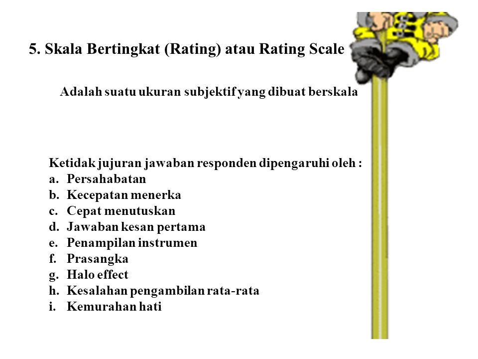 5. Skala Bertingkat (Rating) atau Rating Scale Adalah suatu ukuran subjektif yang dibuat berskala Ketidak jujuran jawaban responden dipengaruhi oleh :
