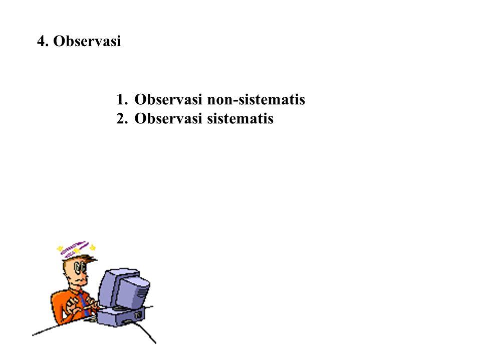 4. Observasi 1.Observasi non-sistematis 2.Observasi sistematis