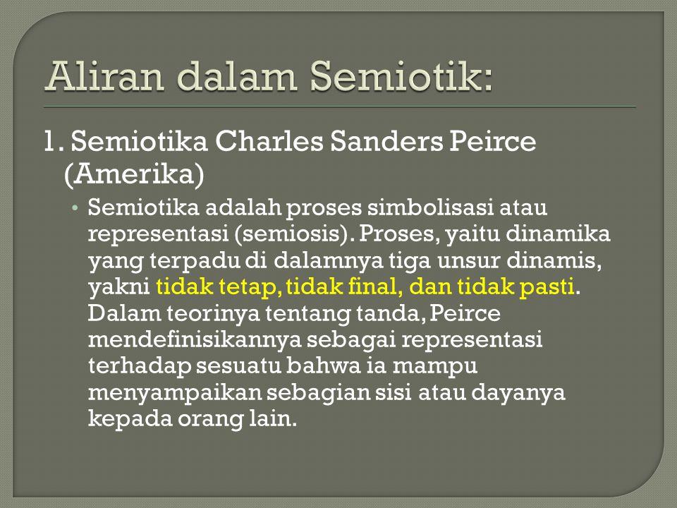 1. Semiotika Charles Sanders Peirce (Amerika) Semiotika adalah proses simbolisasi atau representasi (semiosis). Proses, yaitu dinamika yang terpadu di