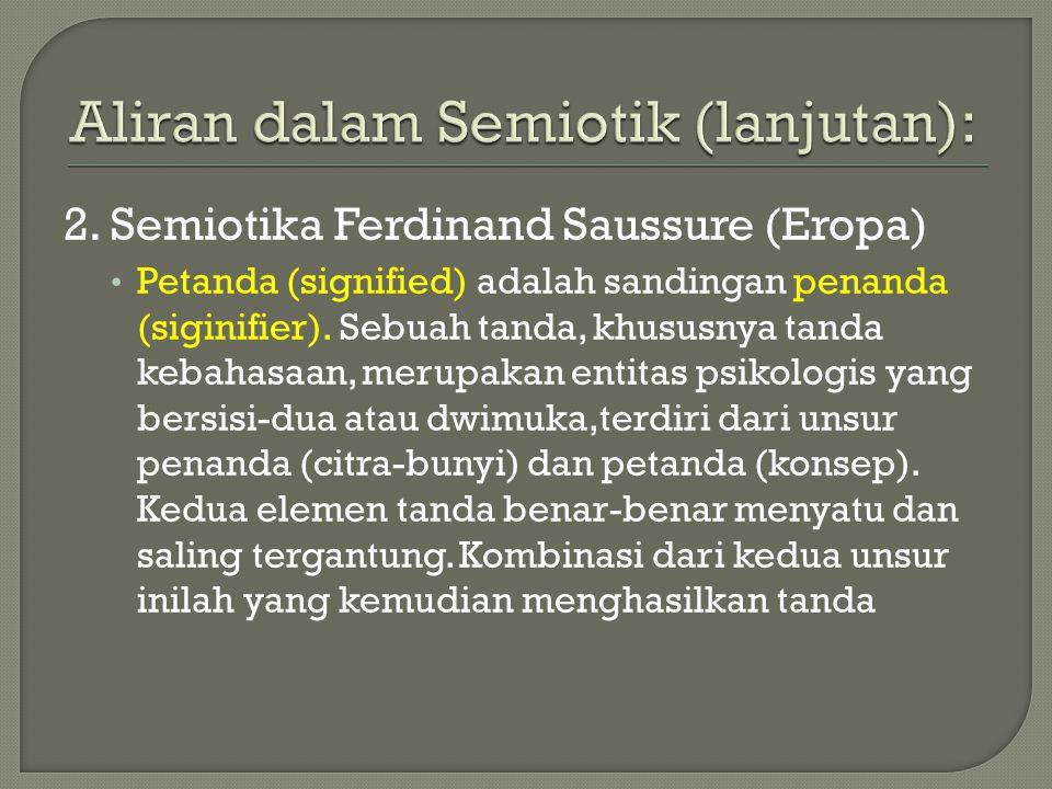 2.Semiotika Ferdinand Saussure (Eropa) Petanda (signified) adalah sandingan penanda (siginifier).