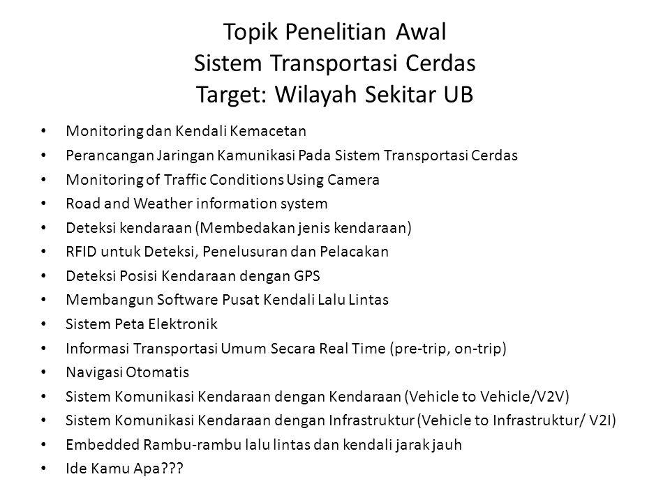 Topik Penelitian Awal Sistem Transportasi Cerdas Target: Wilayah Sekitar UB Monitoring dan Kendali Kemacetan Perancangan Jaringan Kamunikasi Pada Sist