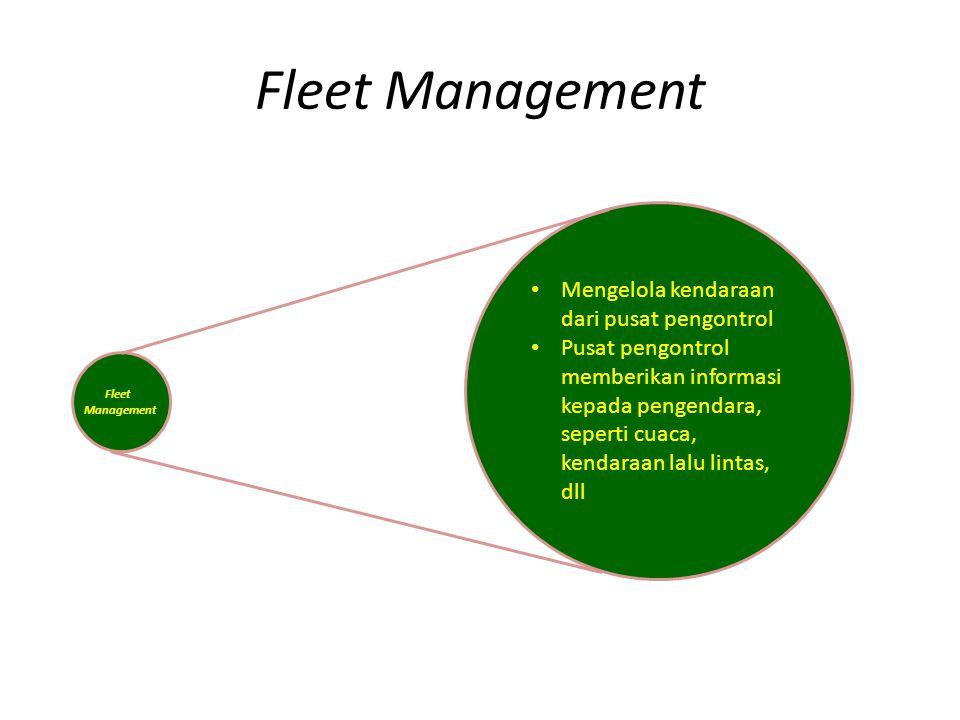 Fleet Management Mengelola kendaraan dari pusat pengontrol Pusat pengontrol memberikan informasi kepada pengendara, seperti cuaca, kendaraan lalu lint