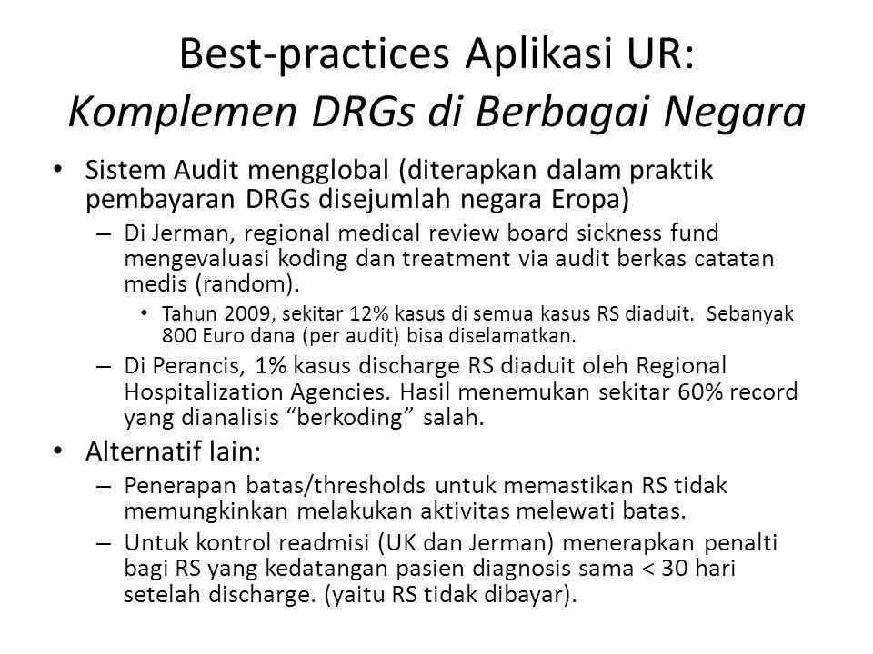 Best-practices Aplikasi UR: Komplemen DRGs di Berbagai Negara Sistem Audit mengglobal (diterapkan dalam praktik pembayaran DRGs disejumlah negara Eropa) – Di Jerman, regional medical review board sickness fund mengevaluasi koding dan treatment via audit berkas catatan medis (random).