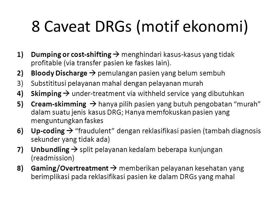 8 Caveat DRGs (motif ekonomi) 1)Dumping or cost-shifting  menghindari kasus-kasus yang tidak profitable (via transfer pasien ke faskes lain).