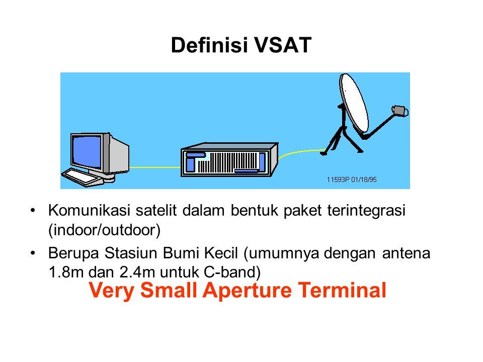 Definisi VSAT Komunikasi satelit dalam bentuk paket terintegrasi (indoor/outdoor) Berupa Stasiun Bumi Kecil (umumnya dengan antena 1.8m dan 2.4m untuk C-band) Very Small Aperture Terminal