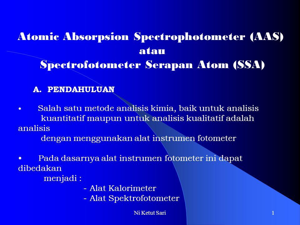Ni Ketut Sari1 Atomic Absorpsion Spectrophotometer (AAS) atau Spectrofotometer Serapan Atom (SSA) A. PENDAHULUAN Salah satu metode analisis kimia, bai