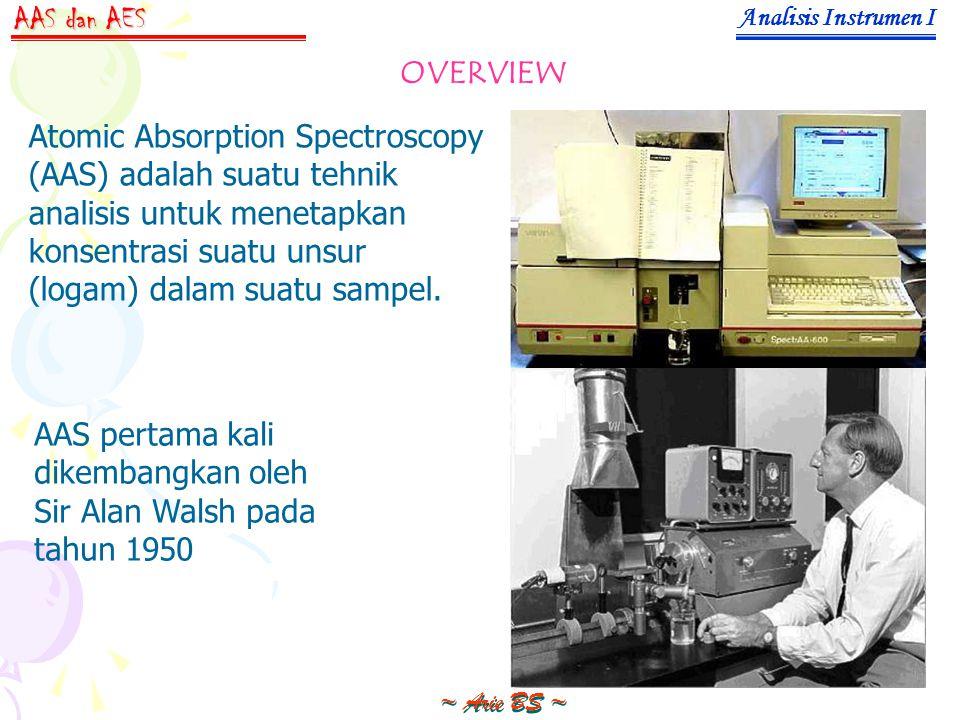 Analisis Instrumen I ~ Arie BS ~ AAS dan AES OVERVIEW Atomic Absorption Spectroscopy (AAS) adalah suatu tehnik analisis untuk menetapkan konsentrasi suatu unsur (logam) dalam suatu sampel.