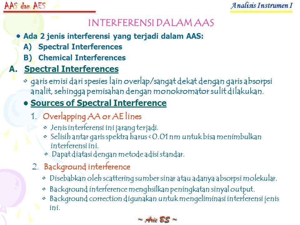 Analisis Instrumen I ~ Arie BS ~ AAS dan AES INTERFERENSI DALAM AAS Ada 2 jenis interferensi yang terjadi dalam AAS: A)Spectral Interferences B)Chemical Interferences Sources of Spectral Interference A.Spectral Interferences garis emisi dari spesies lain overlap/sangat dekat dengan garis absorpsi analit, sehingga pemisahan dengan monokromator sulit dilakukan.