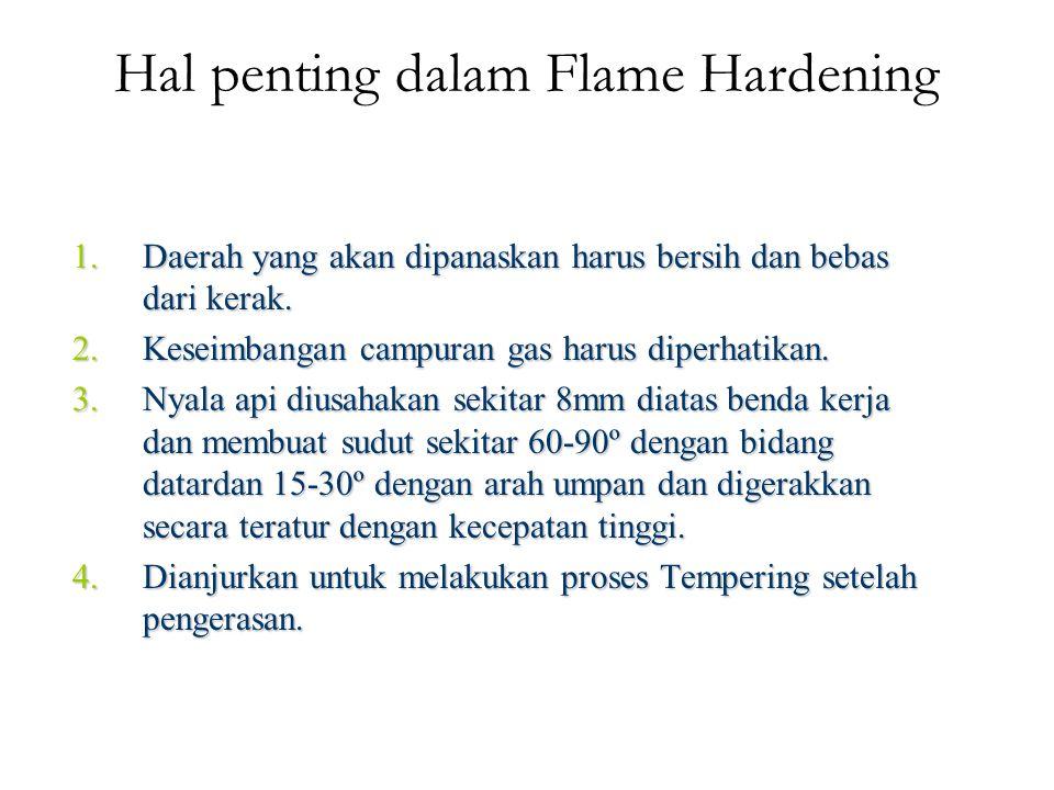 Hal penting dalam Flame Hardening 1.Daerah yang akan dipanaskan harus bersih dan bebas dari kerak.