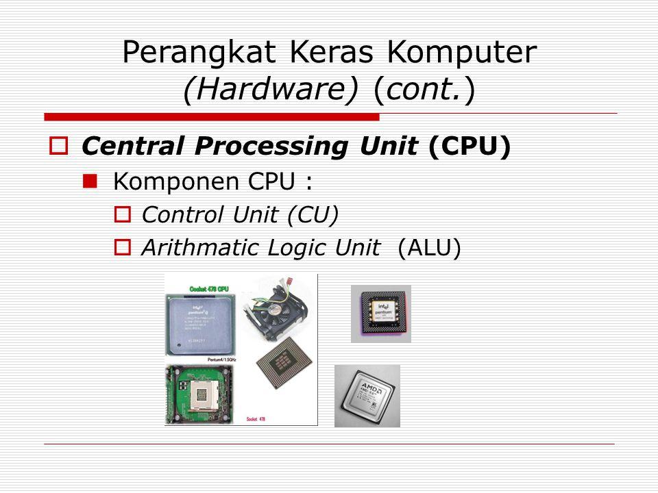Perangkat Keras Komputer (Hardware) (cont.)  Central Processing Unit (CPU) Komponen CPU :  Control Unit (CU)  Arithmatic Logic Unit (ALU)