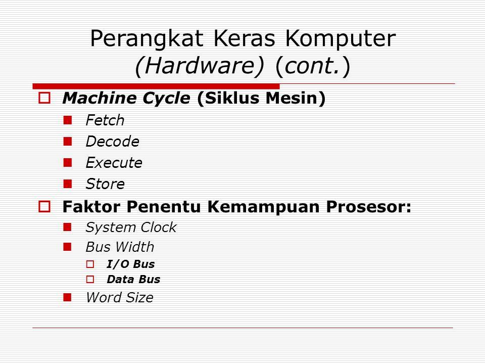 Perangkat Keras Komputer (Hardware) (cont.)  Machine Cycle (Siklus Mesin) Fetch Decode Execute Store  Faktor Penentu Kemampuan Prosesor: System Clock Bus Width  I/O Bus  Data Bus Word Size