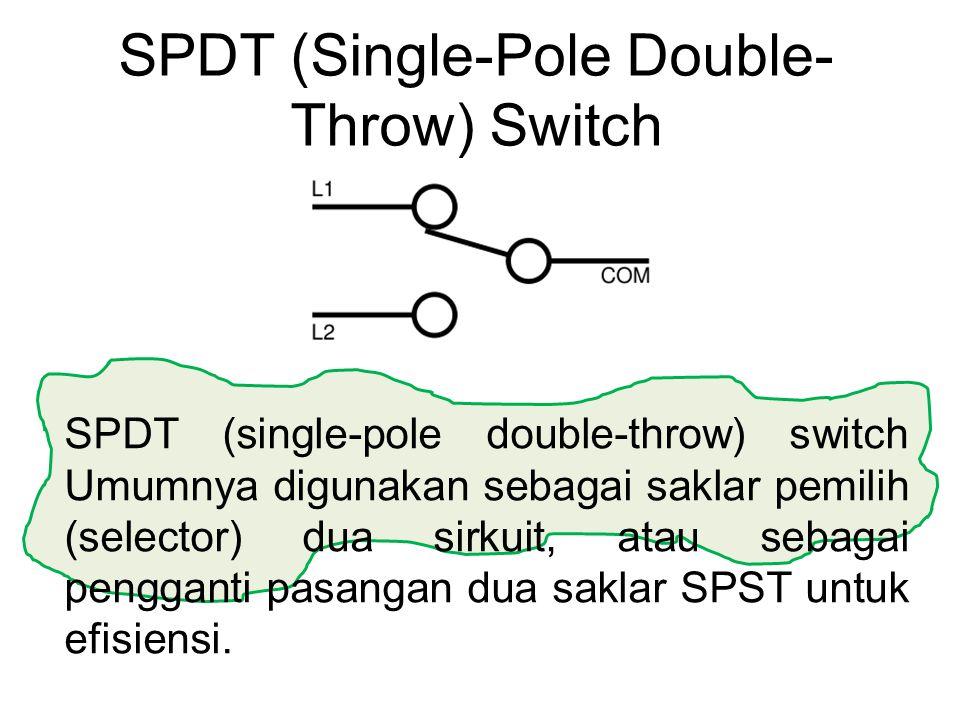 SPDT (single-pole double-throw) switch Umumnya digunakan sebagai saklar pemilih (selector) dua sirkuit, atau sebagai pengganti pasangan dua saklar SPS