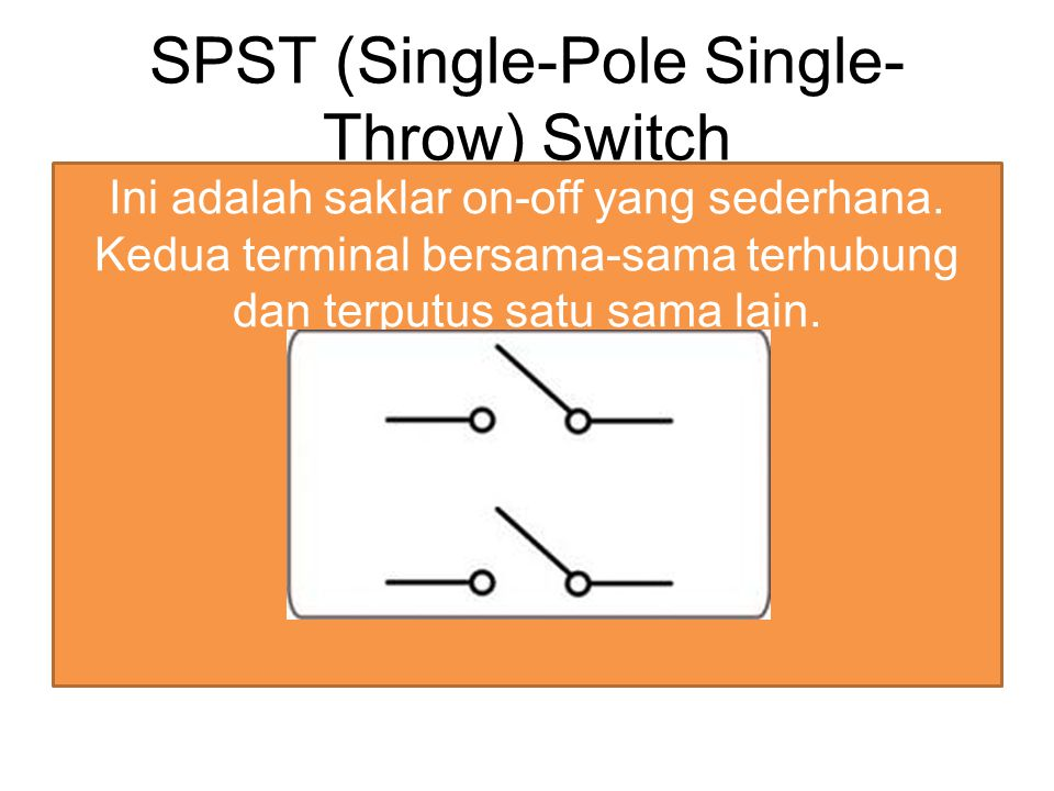SPST Rocker Switch Saklar sederhana dan paling umum digunakan, untuk mengubah status dari padam (off) ke nyala (on), dimana bila ditekan ke satu arah, saklar memutus sambungan sehingga sirkuit membuka, dan bila ditekan ke arah sebaliknya, saklar mengubungkan sambungan sehingga sirkuit menutup.