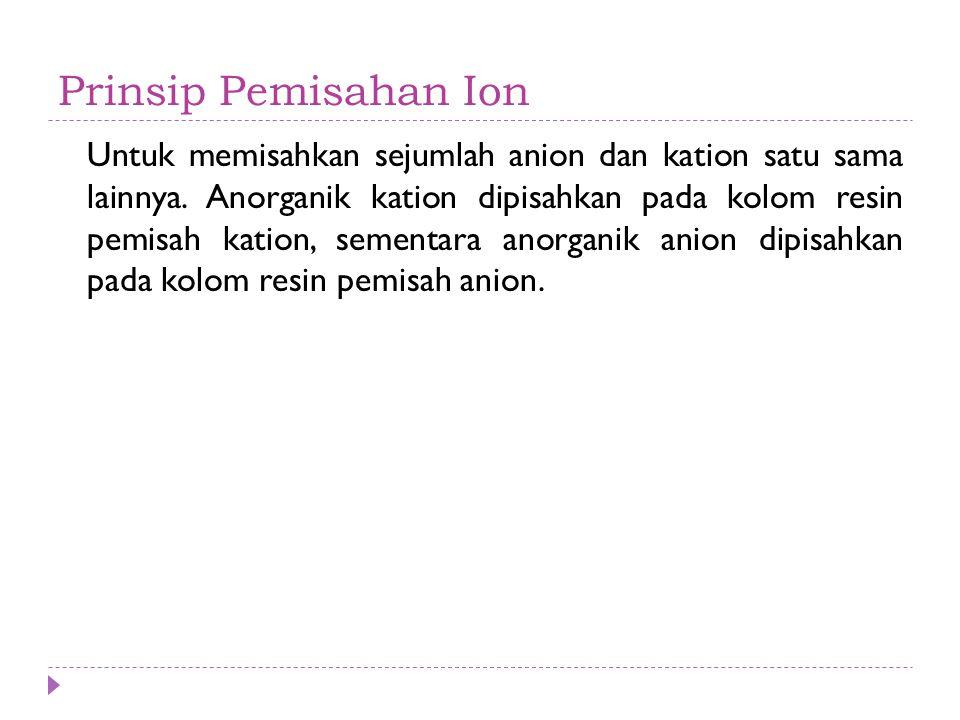 Prinsip Pemisahan Ion Untuk memisahkan sejumlah anion dan kation satu sama lainnya. Anorganik kation dipisahkan pada kolom resin pemisah kation, semen