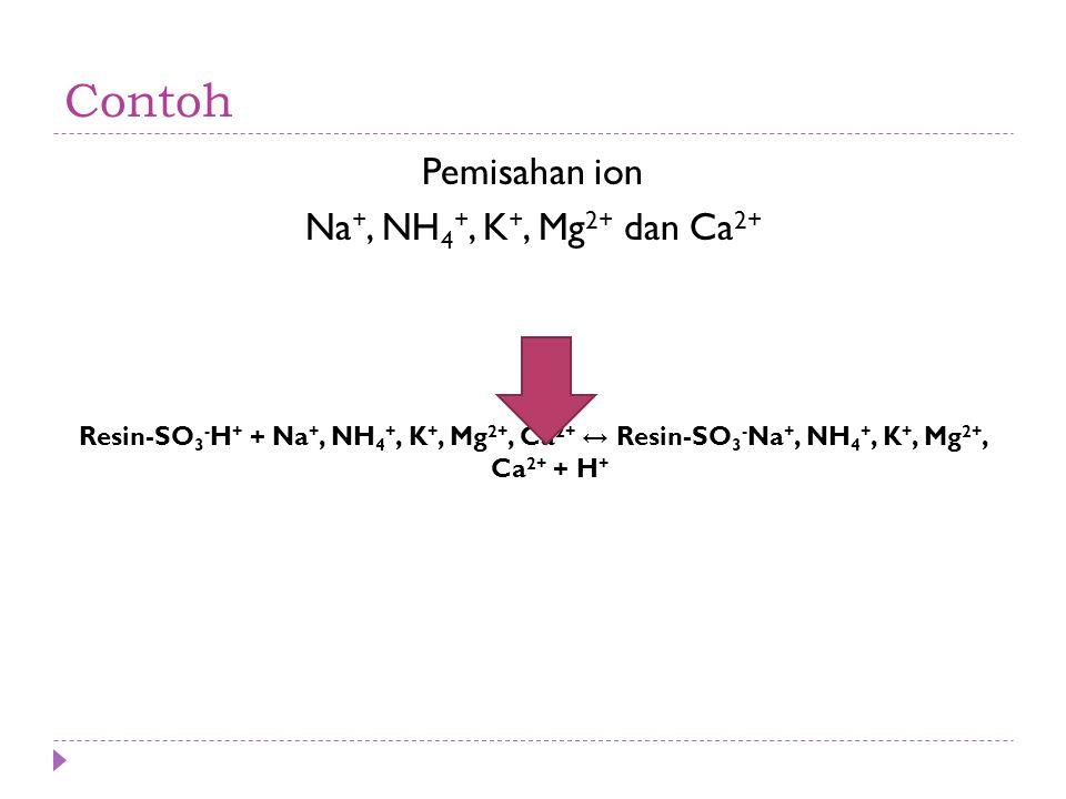 Contoh Pemisahan ion Na +, NH 4 +, K +, Mg 2+ dan Ca 2+ Resin-SO 3 - H + + Na +, NH 4 +, K +, Mg 2+, Ca 2+ ↔ Resin-SO 3 - Na +, NH 4 +, K +, Mg 2+, Ca 2+ + H +